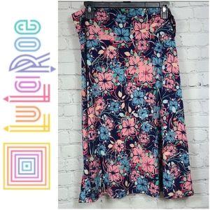LuLaRoe XL 14-16 Azure Skirt A-line Floral Pink